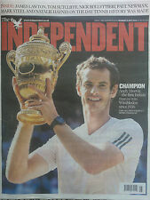 ANDY MURRAY WINS WIMBLEDON.SOUVENIR INDEPENDENT NEWSPAPER.JULY 8TH.NEW ENGLISH