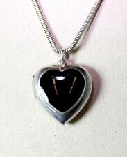 Beautiful Sterling Silver Onyx Heart Locket Pendant Necklace Snake Chain 6977