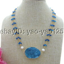 "S092510 18"" 3 Strands White Pearl Round Blue Agate Necklace Agate Druzy Pendant"
