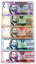 MOZAMBIQUE 20 50 100 200 500 METICAIS 2011 P-146-151 UNC FULL SET 5 PCS