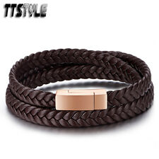 TTstyle Deep Brown Leather 316L S.Steel Rose Gold Magnet Buckle Bracelet NEW