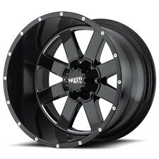 17 inch MO962 17x10 Rims Black Milled Jeep JK Dodge RAM 1500 5x127 5x5.5 -24mm