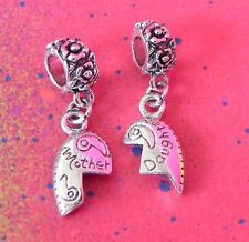 MOTHER DAUGHTER 2 CHARM SILVER HEART BEAD SET LOVE ROSE SWIRL EUROPEAN CHARM