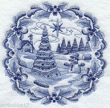 Delft Blue Christmas Snowman SET OF 2 BATH HAND TOWELS EMBROIDERED BY LAURA