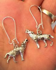SILVER TONE (3D) WOLF PENDANT EARRINGS + (Other Ear Wire Options)
