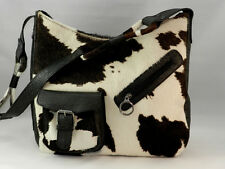 CLAUDIA FIRENZE Black White Cow Hair Croc Leather Hobo Shoulderbag EUC
