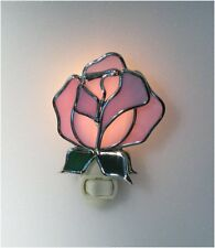 Pink Rose Stained Glass Night Light