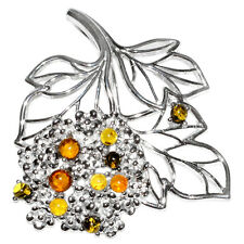 8.7g Authentic Baltic Amber 925 Sterling Silver Pendant Jewelry A356