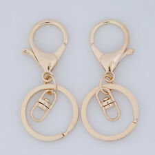 10pcs KC Gold Lobster Clasp Clip Round Alloy Keyfob Key Ring Charms Keychain C