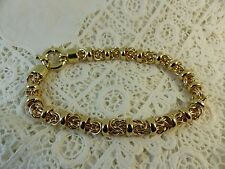 Lady's New 9ct 9carat Yellow Gold Solid Fancy Linked Bracelet, 7.75'' 28 grams