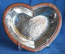 Signed EMILIA CASTILLO Heart Orange Stone Inlay Neiman Marcus Silver Bowl Mexico