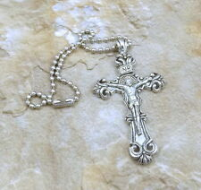 """PEWTER  2-1/4"""" CRUCIFIX Rear View Mirror Ornament -5128"""