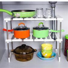 Kitchen Cabinet Under Sink Storage Adjustable Shelf Shelving Organizer Bathroom
