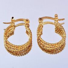 "Pretty New Women's Yellow Gold Filled Intertwine Rope 5/8"" Round Hoop Earrings"