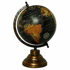 Big Desktop Rotating Globe World Black Ocean Earth Geography Table Decor 13""