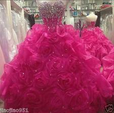 Hot Pink Crystals Rose Organza Prom Ball Gown Quinceanera Dresses for 15 Years