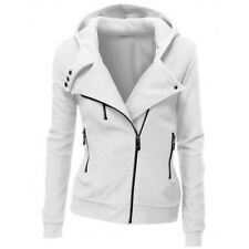 Ladies Womens Hoodies Hooded Zip Tops Slim Lapel Sweatshirt Jacket Coat Outwear