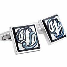 Paisely MOP Mosaic Blue & Black CUFFLINKS-Daniel Dolce Italy-New in Box