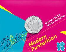 2012 50p olympique 18/29 pentathlon moderne pièce sur carte brillamment universel un