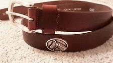 """Horse Conchos Brown Genuine Leather Belt 36"""" New"""