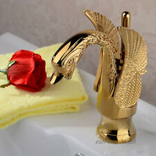 Luxury Gold Polished Brass Swan Shape Bathroom Basin Sink Mixer Tap Water Faucet