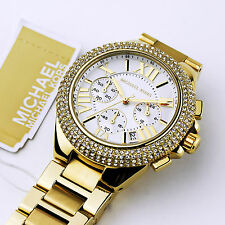 New Michael Kors Women Oversize Gold Tone Camille Glitz Bracelet Watch MK5756