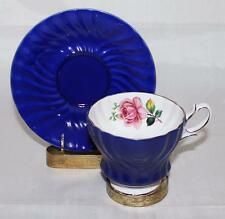 Queen Anne Bone China England Blue, White & Gold Trim Pink Rose Cup & Saucer Set