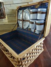 Large WOVEN RATTAN WICKER PICNIC BASKET Suitcase Style ~ w/ dinnerware 20x13x9