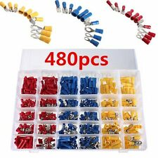 480pcs Insulated Assorted Electrical Wire Terminal Crimp Connector Spade Set Box