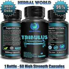 Tribulus Terrestris Extract 3600mg Testosterone Booster 96% Saponins 60 Capsules