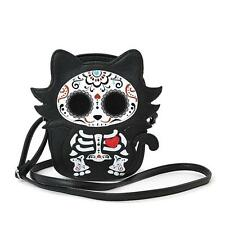Sugar Skull Day of the Dead Skeleton Kitty Cat Crossbody Bag Purse Alternative