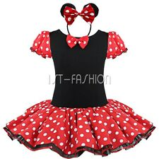 Kids Girls Halloween Minnie Mouse Polka Dots Party Costume Tutu Skirt Dress