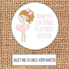 Ballet themed stickers thank you for coming to my party party cone