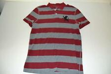 EXPRESS FITTED PIQUE RED GRAY STRIPED BIG GIANT LION POLO SHIRT MENS SIZE M