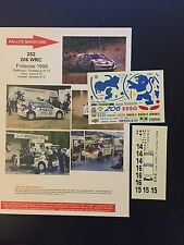 DECALS 1/43 PEUGEOT 206 WRC GRONHOLM RALLYE FINLANDE 1000 LACS 1999 RALLY