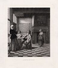"""LOOK Antique Pieter de HOOCH 1800s Etching """"Woman with a Water Glass"""" SIGNED COA"""
