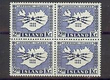 Iceland 1956 Sc# 297 Telegraph Telephone emblem Map block 4 MNH