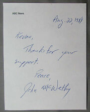 John McWethy {1947-2008} Signed Note ABC TV Journalist Correspondent COA