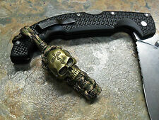 RECON PARACORD KNIFE LANYARD KEYCHAIN BRONZE CROSS SKULL w/ BEAD