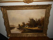 Old oil painting, Landscape with houses near a river, is signed, great frame!