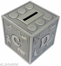 ABC Cube Pewter Money Box New Born Baby Boy or Girl Personalised Free Engraving