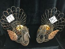 New Set of Two Rustic Metal Turkey Candleholders