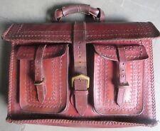 Vintage Leather Briefcase Flap Over messenger beg interior divider slots pockets