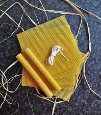 8 pcs Natural Beeswax Sheets 23cmX16 cm + Wick - ROLLED CANDLE KITS
