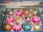 Vtg X-Large Beautiful Antique Pink Shiny Brite Mica Double Indent Xmas Ornaments