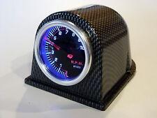 """7 Color 2"""" Tach 10k RPM 12v Smoke Lens Back Lit 23 Srs w/ faux carbon fiber pod"""