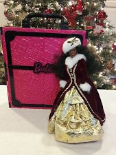Holiday Barbie doll and Pink And Black Wardrobe Carrying Case+--