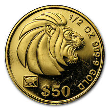 Singapore 1/2 oz Gold Lion Coin - Random Year - Proof/Uncirculated - SKU #67957