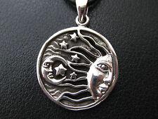 Sonne Mond und Sterne 925'er Silber Ketten Anhänger + Lederband / KA 780
