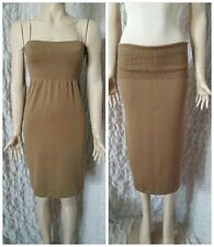 Wolford Khaki Brown Ribbed Wool Knit Stretch Mini Sleeveless Dress Size M